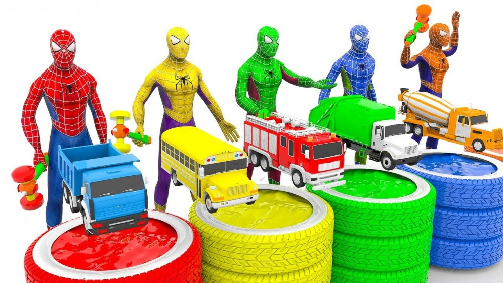 Learn Colors with Spidermans with Dump Truck Toys for Children Trucks Cars Toys for Kids - Learn Colors with Spidermans with Dump Truck Toys for Children | Trucks Cars Toys for Kids